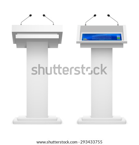Raster version. Set of tribune for the performance  speech on a white background - stock photo