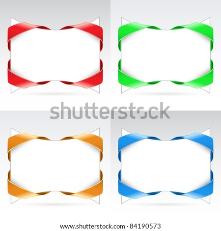 Raster version. Set of white blanks with ribbon. Illustration on white background - stock photo