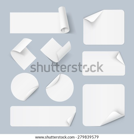 Raster version. Set of white paper sticker form isolated on a background  - stock photo