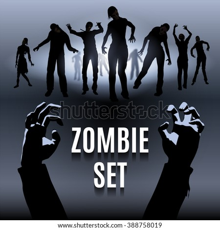 Raster version. Set of zombie male and female black silhouette walk