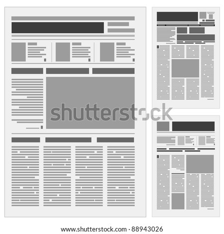 Raster version. Set the number one newspaper. Illustration on white background. - stock photo
