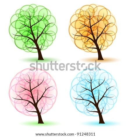 Raster version. Set Tree with abstract leafs, element for design. - stock photo