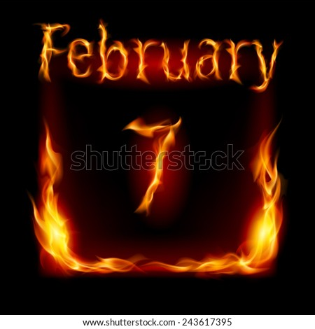 Raster version. Seventh February in Calendar of Fire. Icon on black background  - stock photo