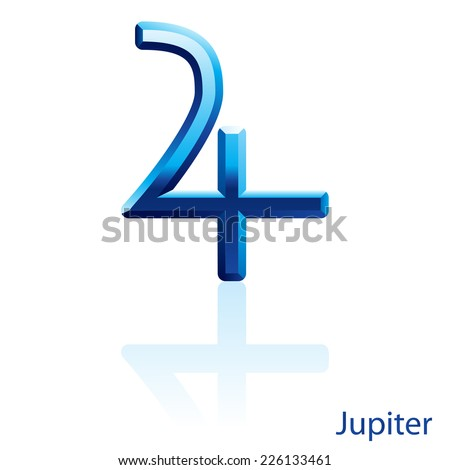 Raster version. Shiny blue Jupiter sign on white background.  - stock photo