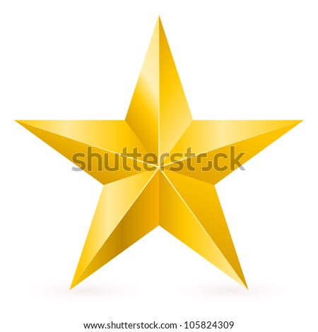 Raster version. Shiny Gold Star. Form of first. Illustration for design on white background - stock photo