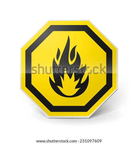 Raster version. Shiny metal warning sign of highly flammable on white background  - stock photo
