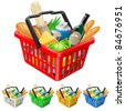 Raster version. Shopping basket with foods. Realistic illustration for design - stock photo