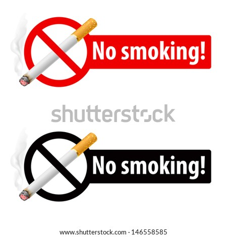 Raster version. Signs No smoking. Illustration on white background - stock photo