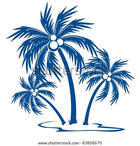 Raster version. Silhouette Palm trees with coconuts. One-colour  symbol on white.
