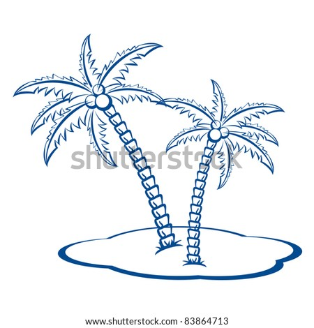 Raster version. Silhouette Palm trees with coconuts #2. One-colour  symbol on white.