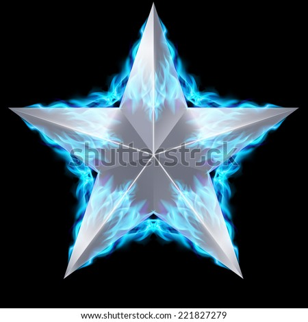 Raster version. Silver five-pointed star surrounded by blue fire on black background.  - stock photo