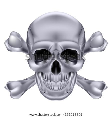 Raster version. Silver Skull and crossbones. Illustration on white background for creative design - stock photo