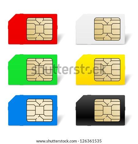 Raster version. Sim card set. Illustration of designer on white background - stock photo