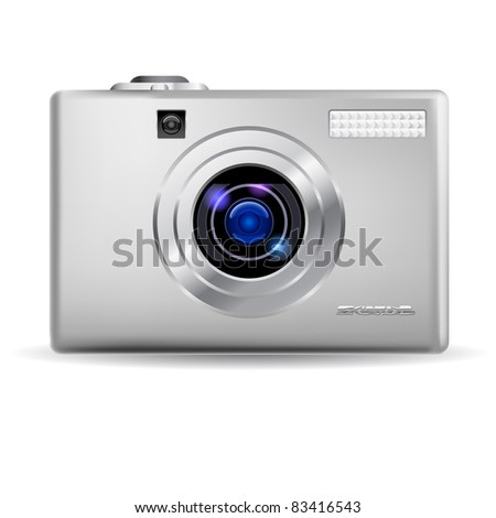 Raster version. Simple digital camera. Illustration on white background - stock photo