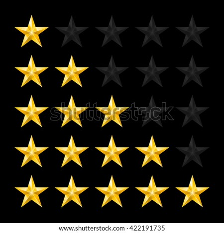 Raster version. Simple Stars Rating. Gold Shapes on Black