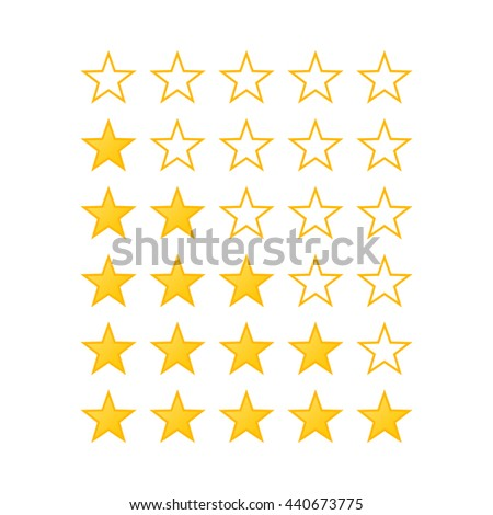 Raster version. Simple Stars Rating. Yellow Shapes on White Background