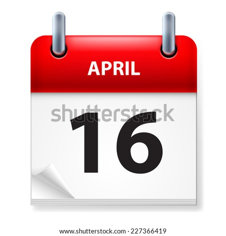 Raster version. Sixteenth in April Calendar icon on white background  - stock photo