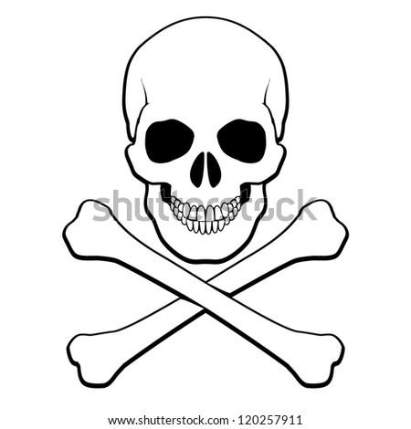 Raster version. Skull and crossbones. Illustration on white background for design - stock photo