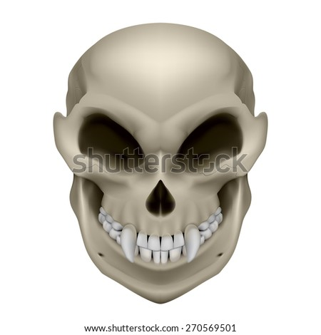 Raster version. Skull of a mutant with fangs. Illustration on white background