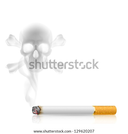 Raster version. Skull shaped smoke comes out from cigarette on white