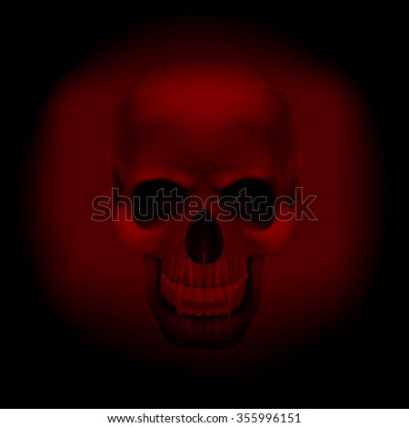 raster version skull vampire on a  dark red background. It can be used with any image on a black background, or separately. - stock photo