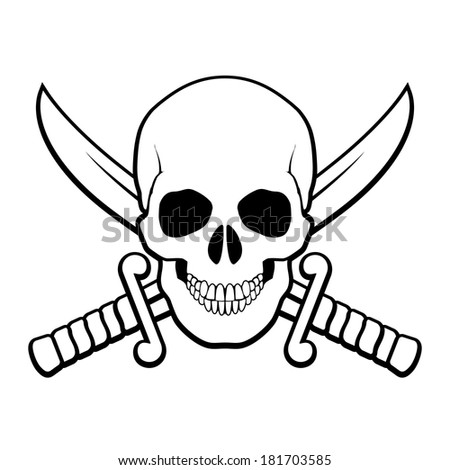 Raster version. Skull with crossed sabers behind it. Black-and white illustration of pirate symbol - stock photo