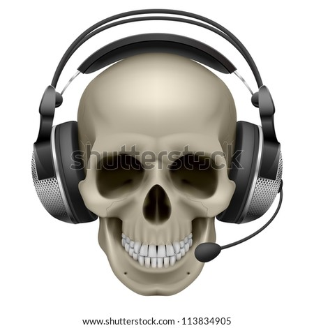Raster version.  Skull with headphones. Illustration on white background