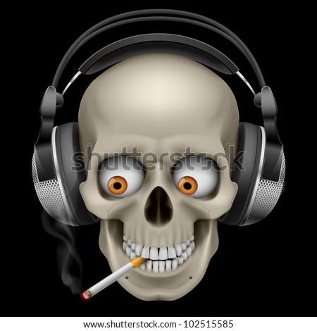 Raster version. Skull with headphones with a cigarette. Illustration on black background
