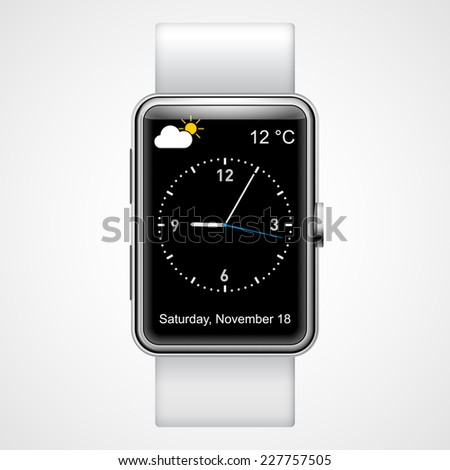 Raster version. Smart  analog wrist watch with black screen on the white background  - stock photo