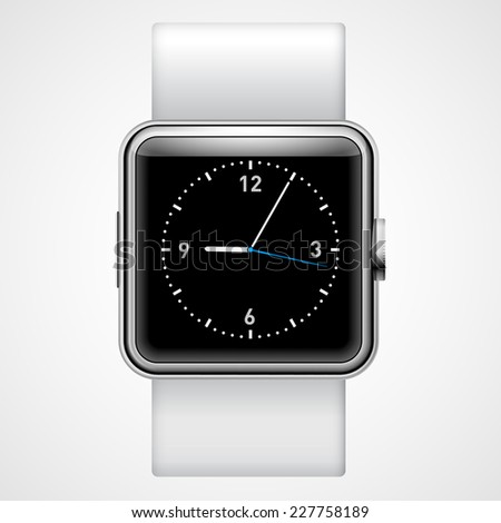Raster version. Smart  analog wrist watch with black square  screen on the white background  - stock photo