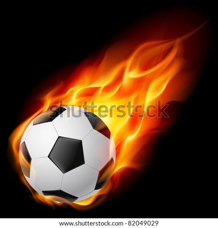 Raster version. Soccer Ball on Fire. Illustration on black background - stock photo