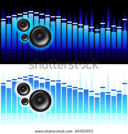 Raster version. Sound Waves.  illustration on white and black background - stock photo