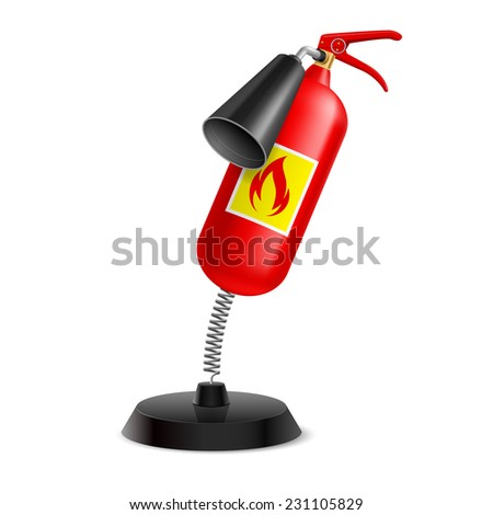 Raster version. Souvenir at the spring in form extinguisher on the white background  - stock photo