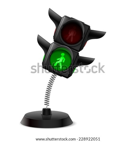 Raster version. Souvenir at the spring in form traffic light on the white background  - stock photo