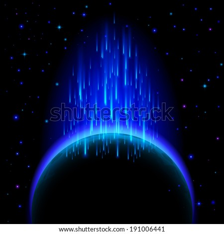 Raster version. Space background. Dark planet with blue radiance and star shower - stock photo