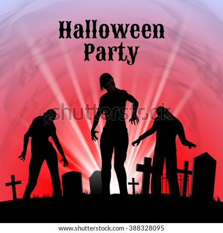 Raster version. Spooky graveyard on the Halloween Night, Halloween Party poster in black, red and white with zombie - stock photo