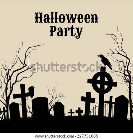Raster version. Spooky graveyard on the Halloween Night, retro poster for Halloween Party in sepia  - stock photo