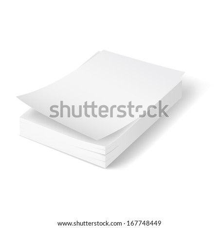 Raster version. Stack of blank papers with first bent sheet on white background. - stock photo