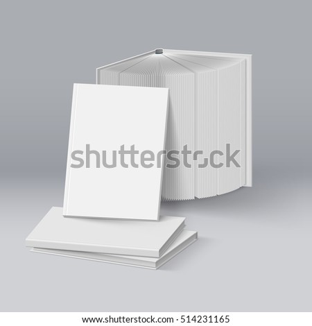 Raster version. Stack of Blank White Books. Mockup Template on Deep Background