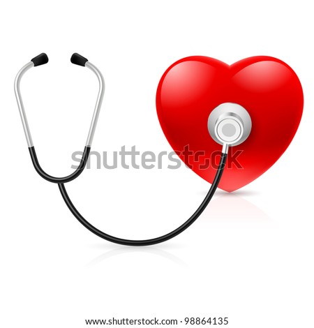 Raster version. Stethoscope and heart. Illustration on white background