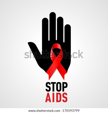 Raster version. Stop AIDS sign: black hand with red ribbon on grey background. - stock photo