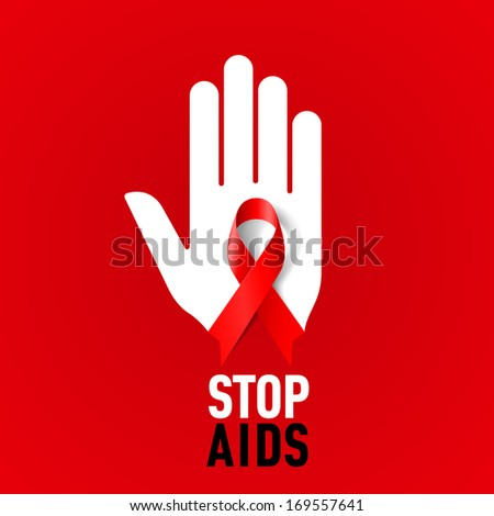 Raster version. Stop AIDS sign with white hand and red ribbon on red background. - stock photo