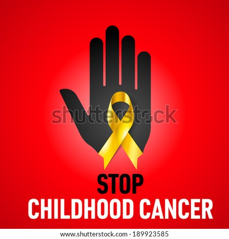 Raster version. Stop Childhood Cancer sign.  Black hand with yellow ribbon on red background - stock photo