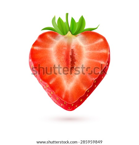 Raster version. Strawberry. Half of a berry isolated on white background  - stock photo