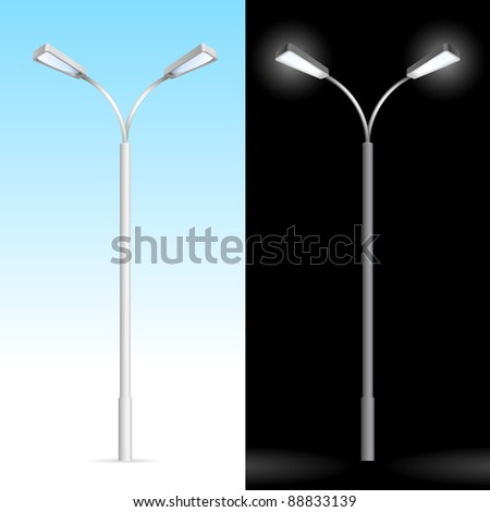 Raster version. Streetlight. Illustration on blue and black background - stock photo