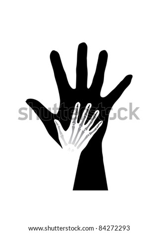 Raster version. Stylized hands anatomy. Black and white illustration