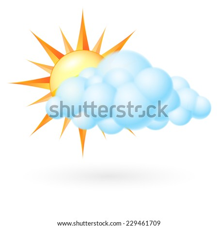 Raster version. Sun with cloud. Illustration on white background  - stock photo
