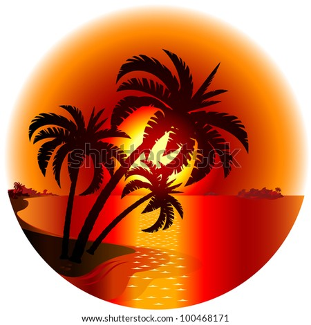 Raster version. Sunset on a tropical island. Illustration on white background
