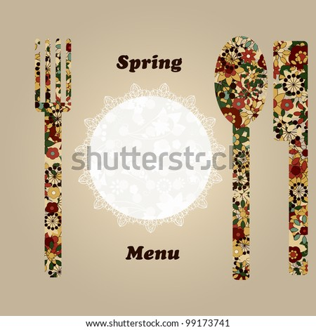 raster version, template for menu with knife, fork, napkin, and spoon, elements can be used separately - stock photo