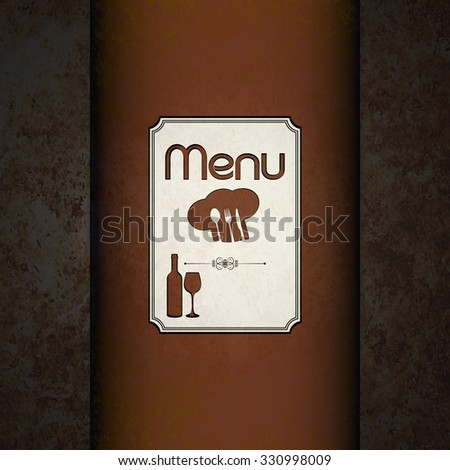 raster version template for the cover page and the restaurant menu with a ribbon for inscription on the background textures or warm colors with a fork, spoon and knife. - stock photo